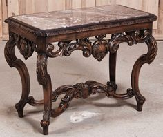 Louis XIV Marble Top End Table | Antique furniture | Inessa Stewart's Antiques #antique #french #furniture