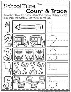 Kindergarten & Preschool Number Worksheets - Count and Trace Back To School Worksheets, Number Worksheets Kindergarten, Tracing Worksheets, Preschool Math, Worksheets For Kids, Kindergarten Activities, Infant Activities, Writing Numbers, Math Centers