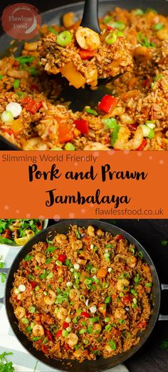 Low-fat Pork and Prawn Jambalaya is a healthier version, still packed with fantastic smoky flavours. All cooked up in one pot and ready in 35 minutes! Seafood Recipes, Beef Recipes, Chicken Recipes, Cooking Recipes, Side Recipes, Recipies, Food Dishes, Rice Dishes, Food Food