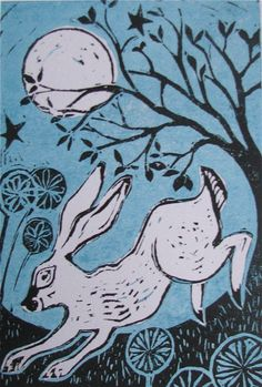 The fifth full moon of the year is known as the Hare Moon, a time to celebrate fertility and new life and the hare in this print bounds across the countryside lit by moonshine. Linocut Prints, Art Prints, Block Prints, Animal Magic, Rabbit Art, Architecture Tattoo, 1920s Art Deco, Inspirational Artwork, Chalk Pastels