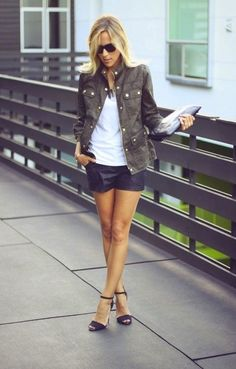 military-jacket-and-leather-shorts-What-to-Wear-with-Military-Jackets-for-Women