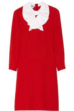 Moschino|Bow-embellished cady dress|NET-A-PORTER.COM...