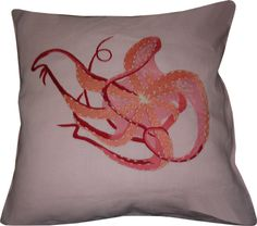 embroidered octopus pillow