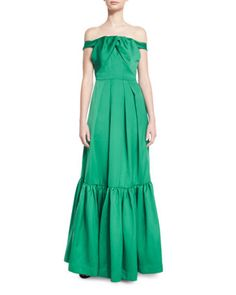 ZAC ZAC POSEN OFF-THE-SHOULDER SATIN & CREPE GOWN, EMERALD. #zaczacposen #cloth #