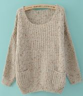 Grey Round Neck Long Sleeve Pockets Embellished Sweater $32.96