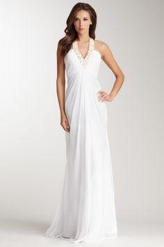 La Femme Embellished Halter Gown