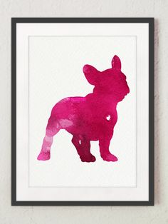 French Bulldog silhouette Pink watercolor by ColorWatercolor