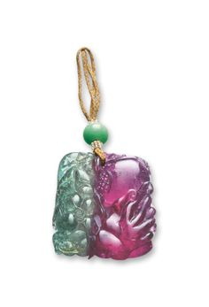 BI-COLOURED TOURMALINE AND JADEITE BEAD PENDANT, LATE QING DYNASTY | Lot | Sotheby's