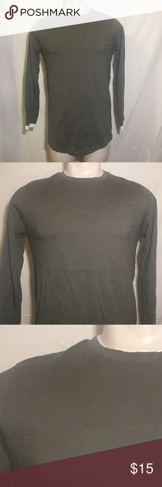 Scooped Long Sleeve Tee Olive green with white detail long scoop fit long sleeve tee from H&M H&M Shirts Tees - Long Sleeve