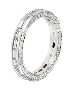 Ivanka Trump 18k White Gold Baguette Diamond Band Ring. 18k White Gold with All Around Baguette Diamonds. Available at London Jewelers.