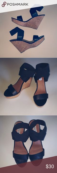 Steve Madden Black Strappy Wedges Steve Madden   Stretchy Straps (No Buckle)  Size 8  4.5in Wedge heel   Near perfect condition!  Thanks for reading and have a great day! Steve Madden Shoes Wedges