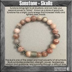 """Sunstone brings light to all situations, and wearing it can help your personal power to """"shine""""......#skulls. Yoga Bead Bracelet Healing Mala spiritual karma jewelry Beaded Bracelets."""