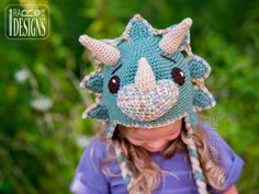 Dino Dinosaur Triceratops Hat Crochet Pattern for Babies Kids and Infants