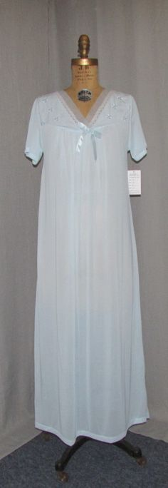 Vintage 1960s Nightgown Lingerie Teddy Blue Nylon PHILMAID