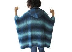INVIERNO venta azul claro azul oscuro sobre tamaño Poncho