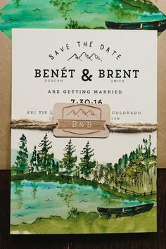 Custom Watercolor Save The Date: Woodland by WideEyesPaperCo