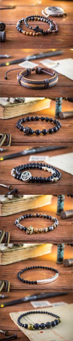Bead bracelets made for men!  Click for more: https://www.strapsandbracelets.com/  #mensfashion #mensbracelet #beadedbracelet