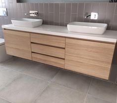 Natural Oak Ravine Finish Melamine with Stone Benchtop. Vanity Designed and Manufactured by Beachside Kitchens Central Coast Oak Bathroom, Family Bathroom, Laundry In Bathroom, Bathroom Renos, Bathroom Layout, Bathroom Interior Design, Bathroom Renovations, Bathroom Furniture, Modern Bathroom
