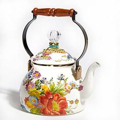 Oh my!  Spendy but gorgeous!  Flower Market Enamel 2 Quart Tea Kettle - White