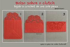 Crochet: Clutch O Bolso Sobre De Una Sola Pieza. Crochet Wallet, Crochet Coin Purse, C2c Crochet, Crochet Purses, Crochet Videos, Love Crochet, Crochet Stitches, Hand Embroidery Dress, Craft Bags