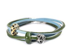 Simpel Blue-Green Trollbeads leather bracelet with Summer Stone beads (Limited Edition)