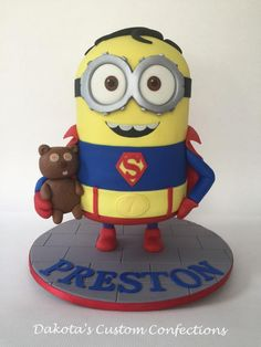 I made this cake for my son's 7th birthday! He wanted a superhero minion party and he chose superman as the star attraction. His favorite minion is Bob and he really wanted Bob's teddy bear to be incorporated too. He loved his cake and had a great...