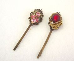 Jeweled Hair Accessory, Vintage Style Bobby Pins, Handmade Hair Pins, Hair Jewelry by SophiesAgora on Etsy