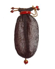 Purse woven by the Empress Josephine in green thread embellished with gold and carnelian. This was given by Josephine as a gift to the wife of one of Napoleon's marshals. Length, 9cms. - Musee de Malmaison