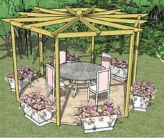 An unusual hexagonal pergola, with beautiful radiating rafters, made from step-by-step pergola plans.