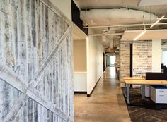One of the beautiful things about Stikwood is its lightweight nature! It gives you the ability to clad existing walls, furniture, and even doors! We love how Wingate Hughes Architect designed this commercial space. Wood Plank Walls, Wood Planks, Wood Wall, Peel And Stick Wood, Living Room Green, Wall Installation, Ship Lap Walls, Weathered Wood, Architect Design