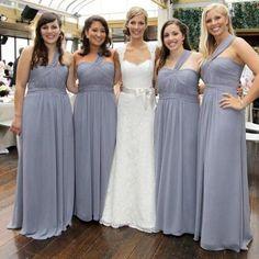 Cheap Simple Formal Chiffon One Shoulder Floor-Length A Line Maxi Bridesmaid Dresses, WG136