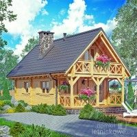 Drewniany domek letniskowy Alicja 62 + 18 m2 | domkiletniskowe.org Cottage Plan, Cottage Homes, Log Cabin Plans, Bamboo House Design, Tiny House Cabin, Backyard Retreat, Wooden House, Farmhouse Plans, House In The Woods