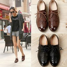 oxford heels for women on sale at reasonable prices, buy 2016 New Arrival Summer Style Oxfords For Women,Ladies Top Quality Classic Vintage Slip On Flat Brogue Shoes Womens Loafers. Oxford Shoes Outfit, Casual Shoes, Women Oxford Shoes, Shoes Women, Daily Shoes, Mode Lookbook, Looks Chic, Low Heel Shoes, Pretty Shoes