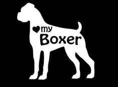 Love My Boxer Dog Vinyl Car Decal Sticker by rockpaperscissors24