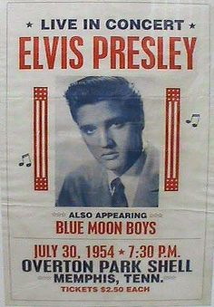1954 ... Very rare poster for Elvis' first paid concert at the Shell