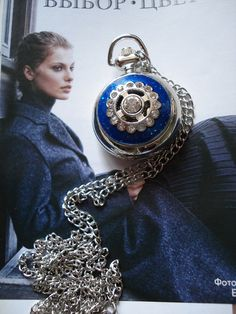Necklace Pendant Blue Crystal    Pocket Watch quartz Gift Chain E155  $10.55