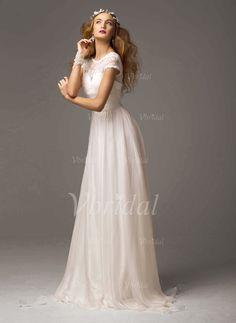 Robes de mariée - $110.88 - Forme Princesse Col rond alayage/Pinceau train Mousseline Robe de mariée avec Dentelle (0025055884)