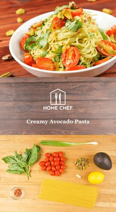 Creamy Avocado Pasta With Roasted Pistachios and Basil Creamy Avocado Pasta, Creamy Pasta, Chef Recipes, Salad Recipes, Healthy Menu, Home Chef, Plant Based Recipes, Pistachios, Food For Thought