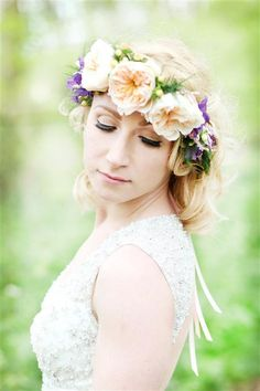 peach flower crown halo floral bride, image by http://www.katiehamiltonphotography.com/