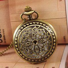 Antik Stil Bronze Taschenuhr (Big Size) hängende Halskette, viktorianischen Muster Blume wp438