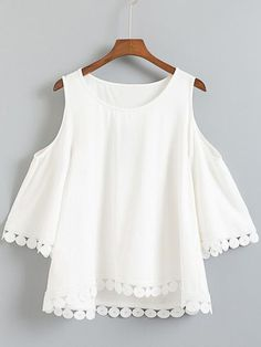 SheIn offers White Dip Hem Cold Shoulder Embroidery Blouse & more to fit your fashionable needs. Casual Outfits, Summer Outfits, Cute Outfits, Site Mode, Look Fashion, Fashion Outfits, Trendy Fashion, Latest Fashion, Fashion Online