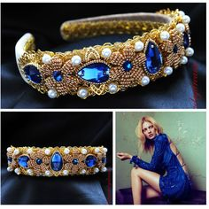 Blue Navy Dolce Headband Woman Gold Party Baroque Swarovski 24 K Gold... ($60) ❤ liked on Polyvore featuring accessories, hair accessories, dark olive, headbands & turbans, turban headbands, gold crown, blue turban, wrap headbands and headband turban