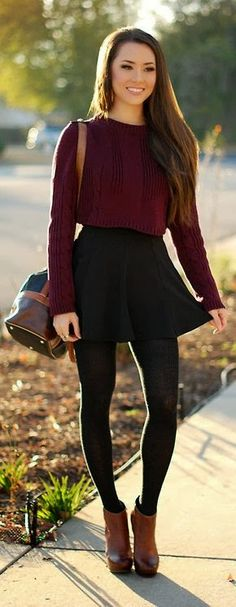 burgundy sweater, black skater skirt, black tights, brown booties