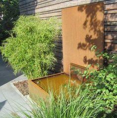 brunnen und wasserbecken aus cortenstahl stahl f r den. Black Bedroom Furniture Sets. Home Design Ideas