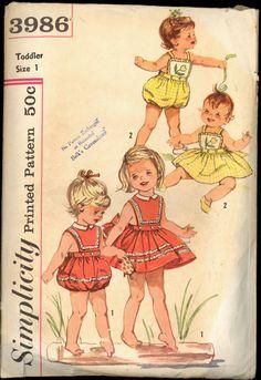 1950s Size 1 Breast 20 Toddler Romper Sun by VintagePatternsCo1