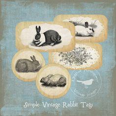 Simple Vintage Rabbit Tags Printable Digital Download