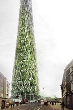 Organic skyscraper built from office rubbish.