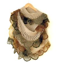Crochet shawl. Crochet extra long scarf. Ruffled shawl. Crochet lace shawl / stole / cape with frill. Taupe brownish