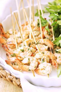 Lemon basil grilled shrimp skewers.
