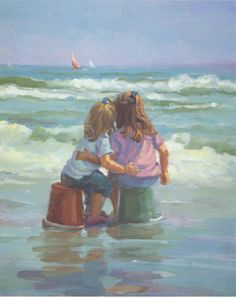 limited edition 16 x 20 two girls, two beach buckets, sisters, siblings wall decor beach by LucelleRaad on Etsy https://www.etsy.com/listing/209328753/limited-edition-16-x-20-two-girls-two